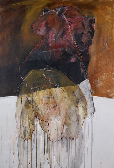 Helen Durant, Entwined Acrylic, Charcoal, and Pastel on Canvas