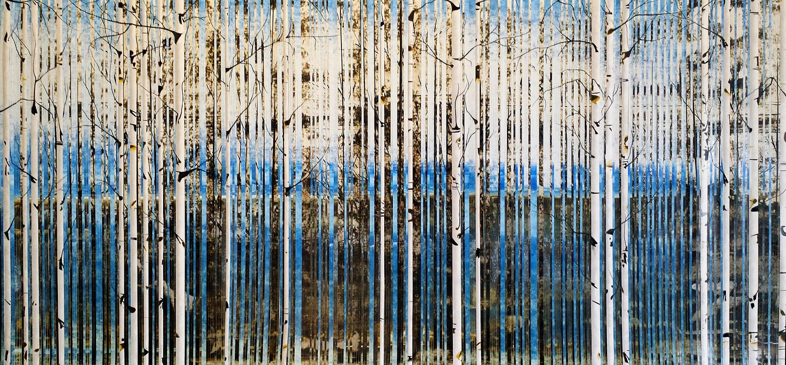 Anastasia Kimmett, Bare Aspens in Cobalt and Sepia Oil Pastel, Acrylic Ink on Paper Mounted on Panel