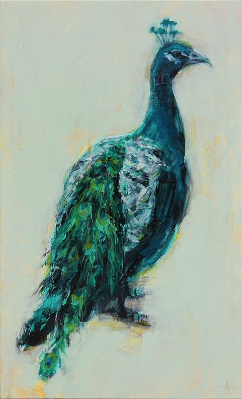 Angie Renfro, Peacock 2015, Oil on Panel
