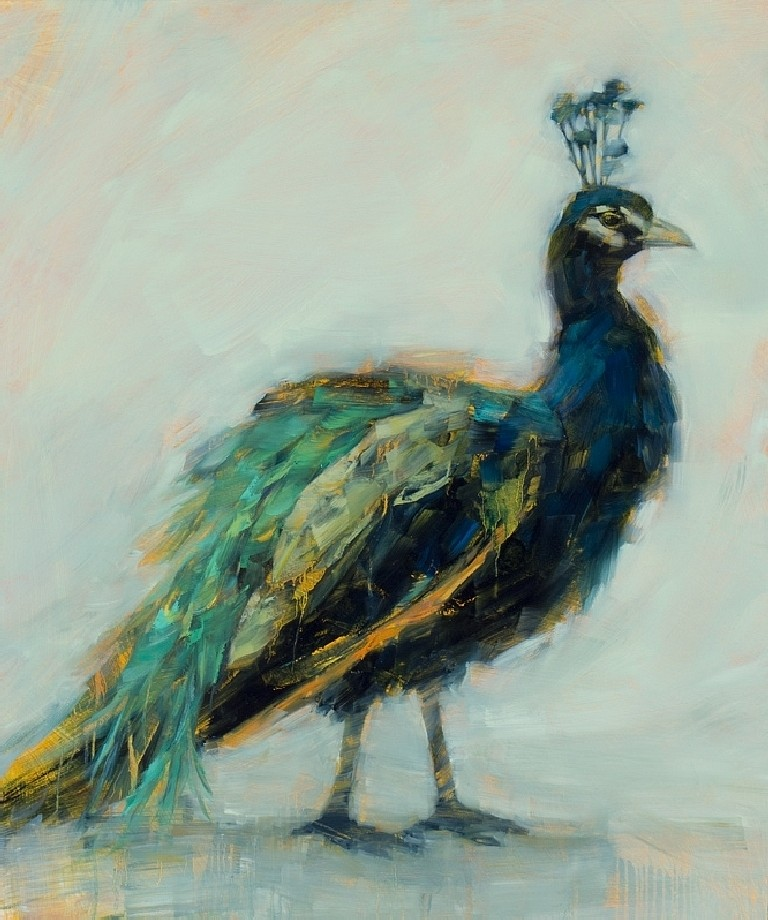 Angie Renfro, Peacock II 2015, Oil on Board