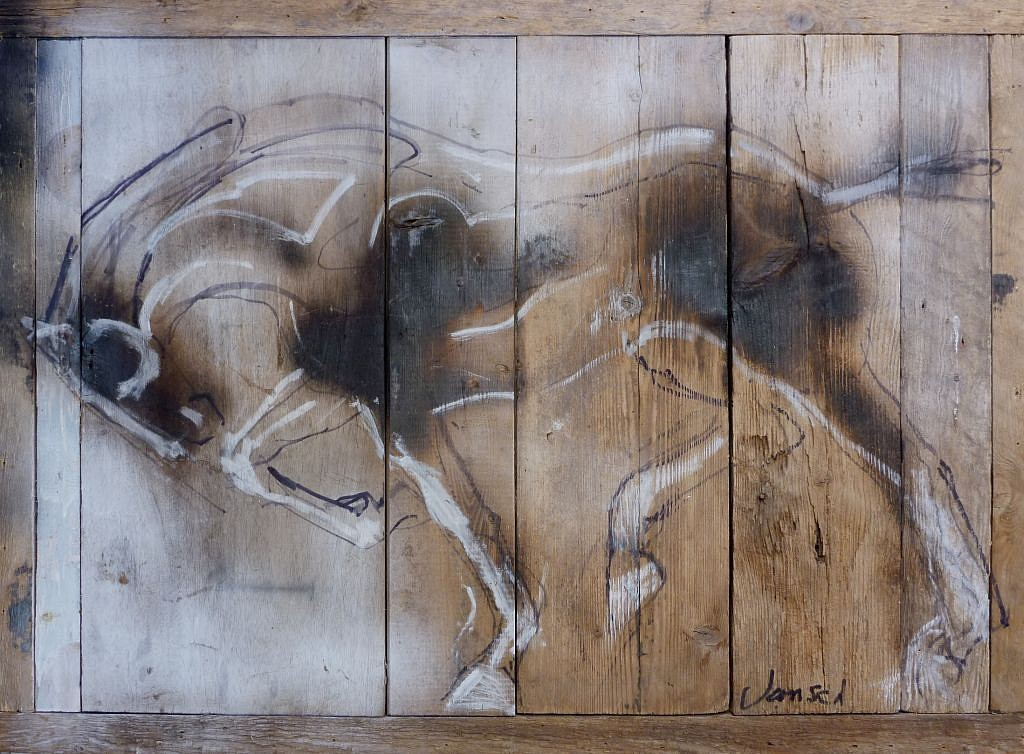 Heather Jansch, Equus Wood Drawing 2016, Burnt Wood Drawing