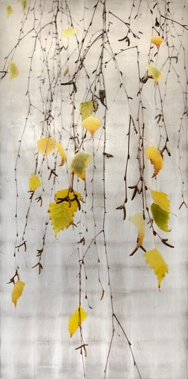 Susan Goldsmith, Autumn Echo 2017, Silver and Gold Leaf with Pigment Print,