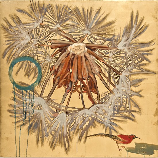 Hung Liu, Dandelion with Red Bird 2017, Mixed Media
