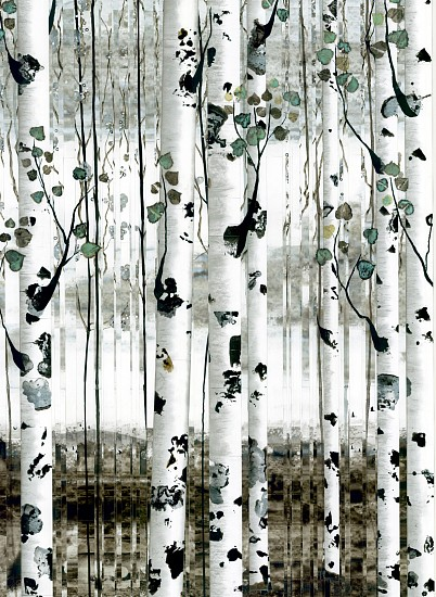 Anastasia Kimmett, Aspens with Patinated Leaves and Distant Mountains Mixed Media