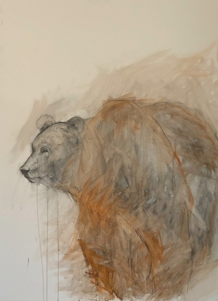 Helen Durant, Red Bear II 2018, Acrylic and Charcoal on Canvas