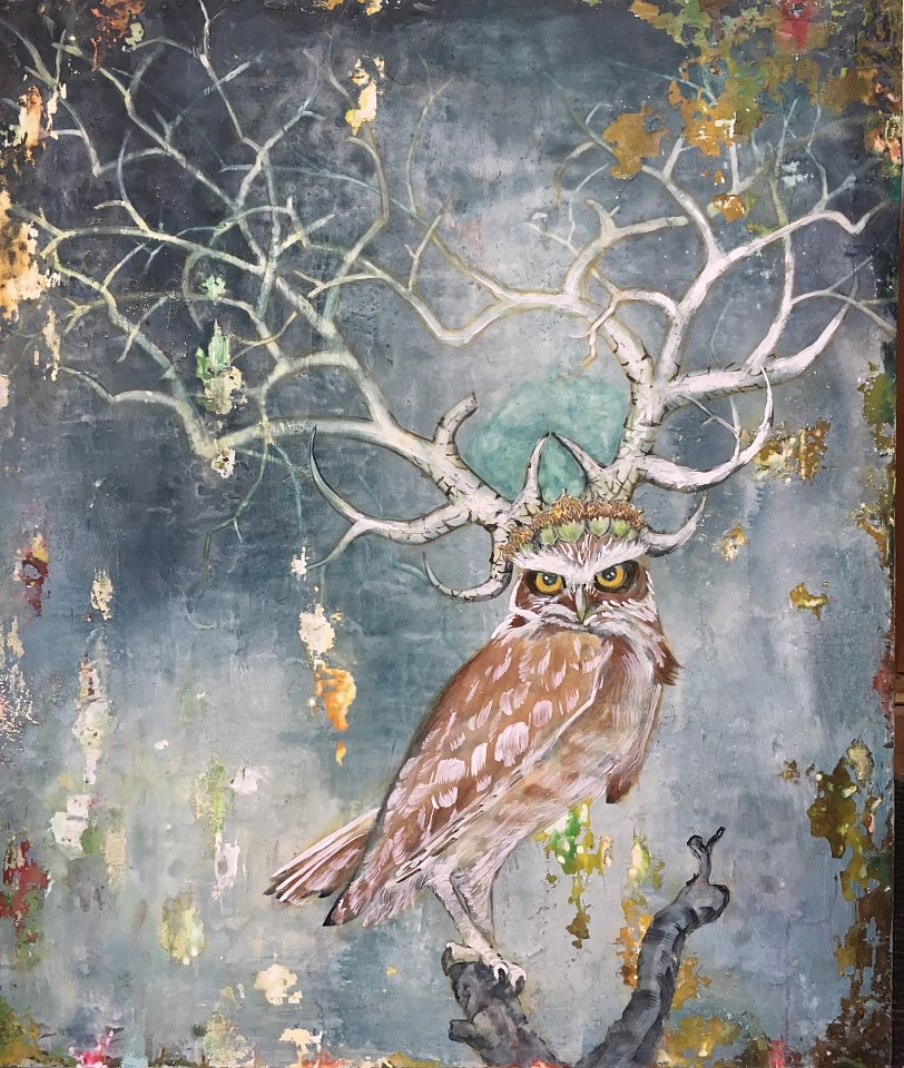 Chris Reilly, Owl Queen Encaustic on Panel