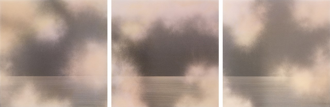 Miya Ando, Tasogare (Twilight) Triptych Pigment, Urethane, Dye and Resin on Aluminum