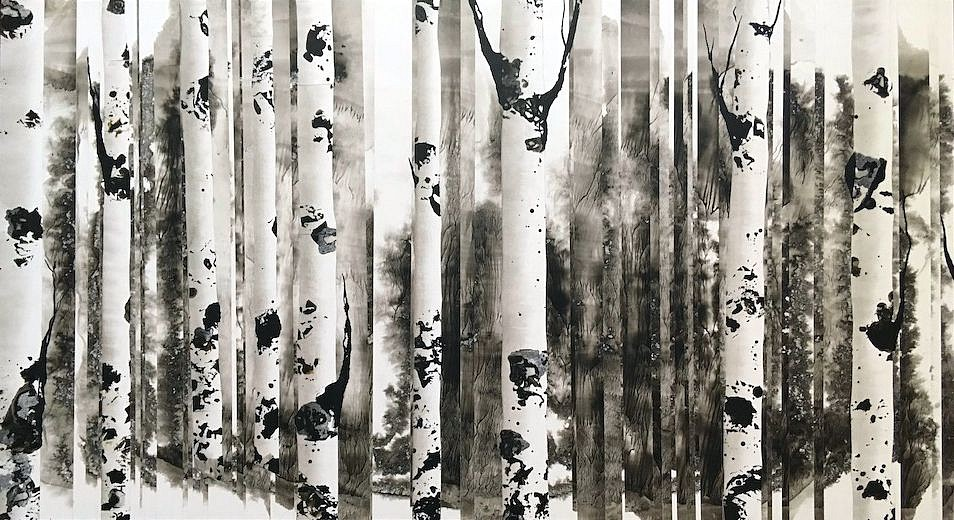 Anastasia Kimmett, Dreamscape with Aspens Mixed Media
