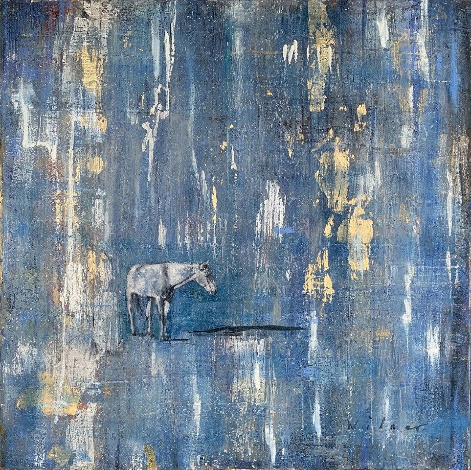 Amanda  Wilner, When it Rains 2020, Oil, Metal Leaf, and Wax on Canvas